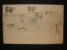 dessin ancien animalier cachet de l'atelier E.M