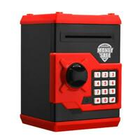 Electronic Piggy Bank ATM Password Money Automatic Save Safe Box (Black Red N#S7