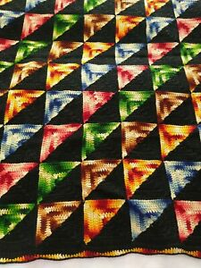 """Vintage Crochet Afghan Art Throw Black w/Multicolored Ombre Triangles  44""""x 65"""""""