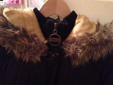 DKNY ACTIVE Ladies Black Faux Fur Hooded Bomber Jacket/ Gillet Body  Warmer L