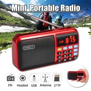Rechargeable Mini Portable FM Radio 2 Modes Stereo Digital Speaker USB MP3 TF