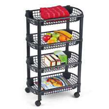 "4-Tier Rolling Cart with Storage Baskets - Black, 18 1/4"" L x 10 1/4"" W x 29"" H"