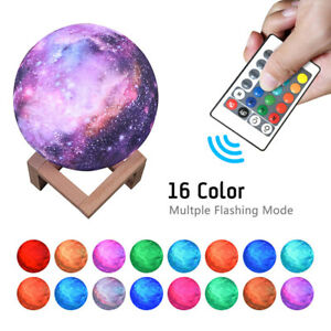 16 Color LED Rechargeable Moon Starry Sky Lamp Night Light 12/15cm Kids Bedroom