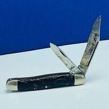 Pocket Knife vintage folding 2 two blade vtg usa made us black handle patent NC
