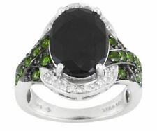 6.47CT BLACK SPINEL CHROME DIOPSIDE Topaz Sterling Silver RING SZ 10 MSP $99.99