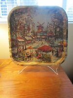 Vintage Metal Tray Paris France Cafe Scene By Daher Decorated Wares Square 13.5""