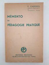 """Ancien manuel scolaire """"Mémento de pédagogie pratique"""" (1954)"""
