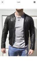 All Saints QUIVER Leather Bomber Jacket MEDIUM Black Collide Slim Fit *RARE*
