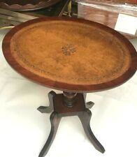 More details for regency style mahogany leather top oval wine table [7099]