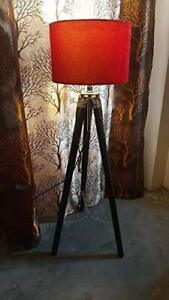Classic Antique Wooden Tripod Floor Lamp, Red Velvet Shade Size 46 Inches