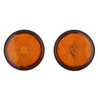 2 Pairs Round Reflectors for Motorcycles ATV Bikes Dirt Bike (Red & Orange)