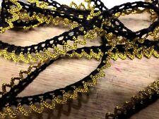 "VINTAGE METALLIC Gold Black Metallic 3/8"" Scallop Crochet 1 yard BRAID"