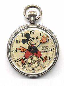 1934 Ingersoll English No 1 Mickey Mouse Balloon Trousers Pocket Watch 30s Runs