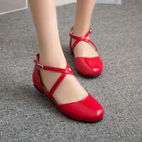 Cute Women Stylish Round Toe Flats Casual Ankle Cross Strappy Date Casual Shoes