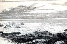 Nova Scotia Canada 1873 WRECK of the ATLANTIC Matted Antique Art Print Engraving