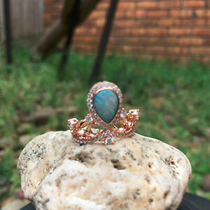 KG85 Australia Solid opal 0.529cts diamond 18KG Luxury Crown Design ring25.7ct#O