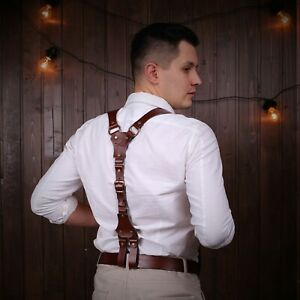 Handmade Suspenders, Sword belt Leather Suspenders, Mens Suspenders, Personalize