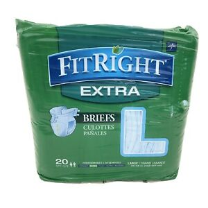 FitRight Ultra Adult Diapers, Disposable Incontinence Briefs with Tabs,  20 Pack