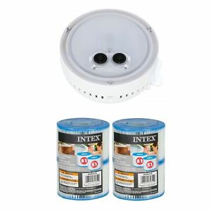 Intex Multi-Colored LED Spa Light and Type S1 Pool Filter Cartridges (2 Pack)