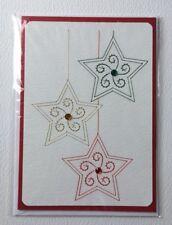 Hand Stitched Christmas Card - Hanging Christmas Stars