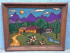 HIPPY Cottage Psychedelic Needle Point Needlepoint Home Framed 70s Vintage 15x18