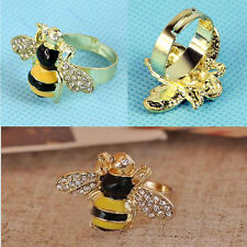 NEW Fashion Ladies Lovely Cute Yellow Bee Rhinestone Design Crystal Ring Animals