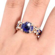 Verlobungsversprechen Blauer Saphir Rose Gold Gefüllt Eheringe Roter Rubin