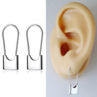 Solid 925 Sterling Silver Padlock Square Safety Pin Hoop Drop Cuff Earrings