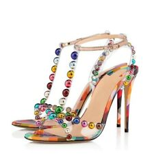 Womens Beaded High Heels Sandals Peep Toe T-strap Zip Party Prom Shoes Clubwear