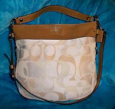 COACH 14710 Zoe Optic Signature Canvas & Leather Shoulder Crossbody Bag - LARGE