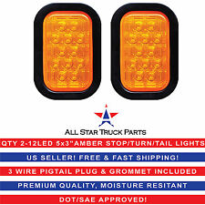 "5x3"" Amber Rectangle 12 LED Stop/Turn/Tail Truck Light Grommet & Pigtail - Qty 2"