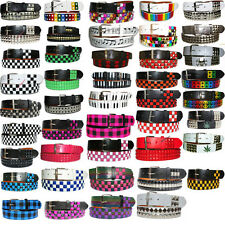 SNAP ON New Pyramid Conical Printed Studded Mens Womens Belt with Removable Buck