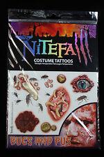 Realistic Gross-TEMPORARY FAKE TATTOOS SET-Horror Zombie Costume Makeup-BUGS PUS