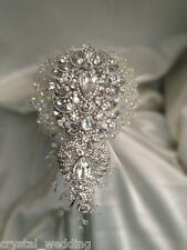 Crystal Sensational Wedding brides brooch Bouquet made with Swarovski Elements