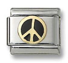 Italian Charm Peace Sign Symbol Black Enamel 9 mm Stainless Steel Modular Link