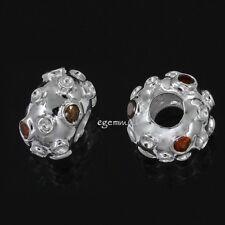 Sterling Silver European Charm Bead ap. 12.5mm With Garnet CZ 1PC #94246