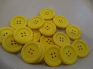 LOT OF 20 YELLOW  COLOR 1-1/16 INCH 4 HOLE BUTTONS, NEW