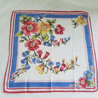 Vintage Handkerchief Bold Flowers Blue Yellow Reds Fine Cotton Excellent