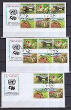 UNO Genf 2002 FDCs mit 16 Zusammendrucke von MiNr. 434-437  Gefährdete Arten