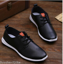 New Men's Board Casual Canvas Leather Sneakers Slip On Loafer Sport Shoes -43