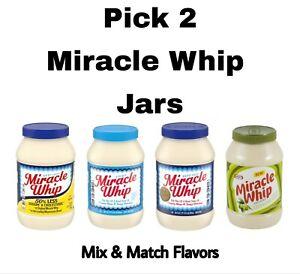 Pick 2 Miracle Whip 30 oz Jars: Less Cholesterol, Light, Olive Oil or Original