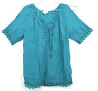 Westport 1962 Women's Small Blue Short Sleeve Lace Crochet Trim V Neck Blouse