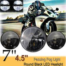 7'' LED Haupt Scheinwerfer+2x 4,5'' Zusatzscheinwerfer Licht Für Harley Davidson