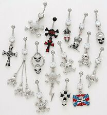 5 CZ Dangle Belly Button Rings 14g Wholesale Gemstone Body Jewelry Navel Skulls
