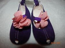BNWT Absorba Baby Girls SIZE 4 (9-12 MONTHS) Purple Suede Peep Toe Rosette Shoes