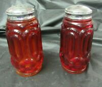 Vintage L. E.  Smith Ruby Red Amberina Glass Moons and Stars