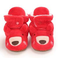 Baby Cozy Fleece Booties Red Christmas Reindeer Newborn Shoes Toddler Footwear