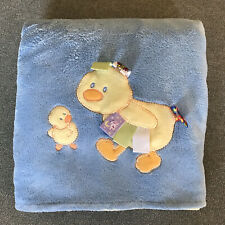 """Taggies Mom & Baby Duck Blanket Blue Yellow Reversible 30"""" x 40"""""""