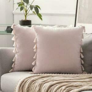 45x45cm Luxury Tassel Soft Particles Velvet Solid Cushion Cover Without Filling