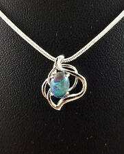 Opal Triplet Necklace and Pendant Twice 18ct White Gold Plated w Cert and Chain